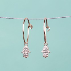 Orelia Crystal Hamsa Hand Hoop Earrings