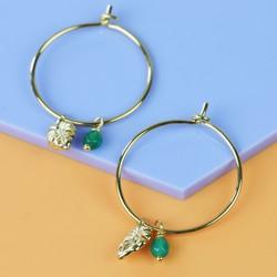 Orelia Gold Leaf and Semi-Precious Stone Charm Hoop Earrings