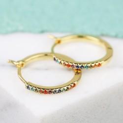 Orelia Rainbow Crystal Hoop Earrings in Gold