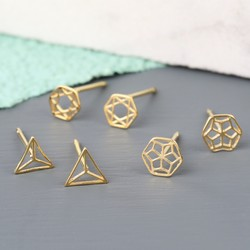 Orelia Set of 3 Delicate Gold Geometric Stud Earrings