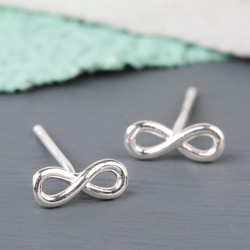 Orelia Tiny Silver Infinity Stud Earrings