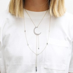 Orelia Long Multi-Layered Gold Moon Necklace