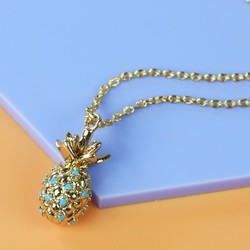 Orelia Gold and Blue Crystal Pineapple Pendant Necklace