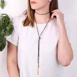 Orelia Gold Moon and Multi-Layer Suede Choker
