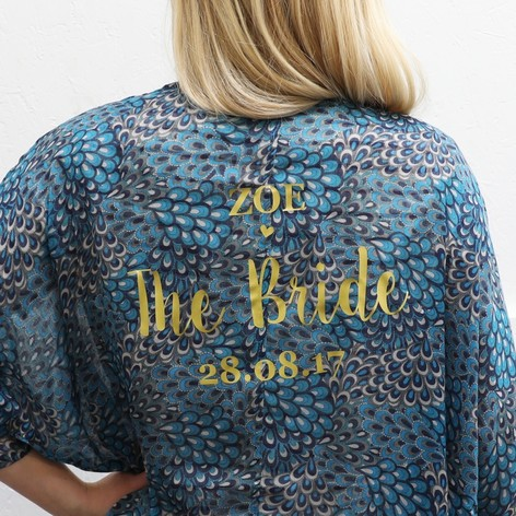 Personalised Bridal Party Peacock Feather Print Kimono