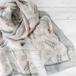 Personalised Silk Feather Scarf in Pink and Grey