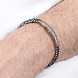 Men's Adjustable Leather and Wire Bracelet with Tube Clasp in Black