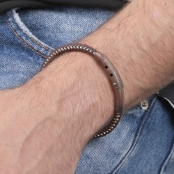 Men's Adjustable Leather and Wire Bracelet with Tube Clasp in Brown
