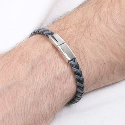 Men's Grey & Black Woven Leather Bracelet
