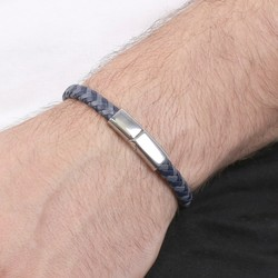 Men's Blue & Navy Woven Leather Bracelet