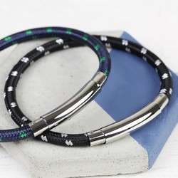 Men's Personalised Cord Tube Clasp Bracelet