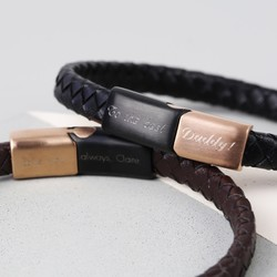 Men's Personalised Woven Bracelet with Brushed Black & Rose Gold Clasp