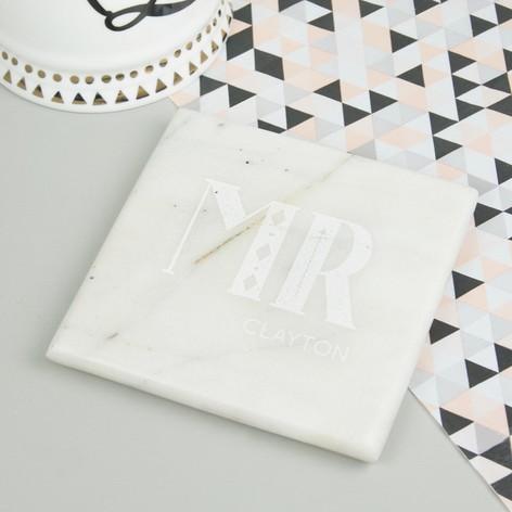 Personalised Sass & Belle Marble Wedding Coasters