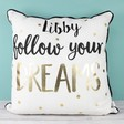 Lisa Angel Personalised Sass & Belle 'Follow Your Dreams' Metallic Cushion