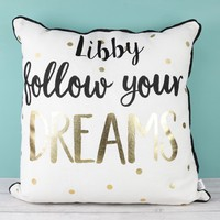 Personalised Sass & Belle 'Follow Your Dreams' Metallic Cushion