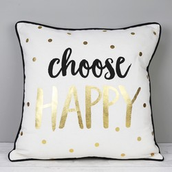 Sass & Belle 'Choose Happy' Metallic Cushion