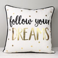 Sass & Belle 'Follow Your Dreams' Metallic Cushion