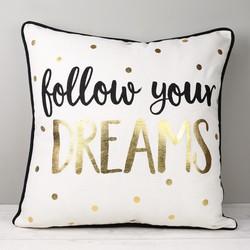 Sass & Belle 'Follow Your Dreams' Metallic Cushion