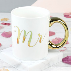Sass & Belle Metallic Gold 'Mr' Mug