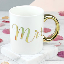 Sass & Belle Metallic Gold 'Mrs' Mug