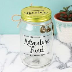 Personalised Sass & Belle 'Adventure Fund' Money Jar