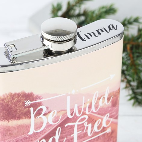 Personalised Sass & Belle 'Be Wild and Free' Wanderlust Hip Flask