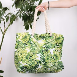 South Beach Botanical Leaf Print Tote Bag