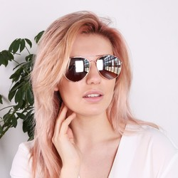 South Beach Rose Gold Reflective Aviator Sunglasses