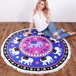 South Beach Round Jaipur Elephant Beach Towel