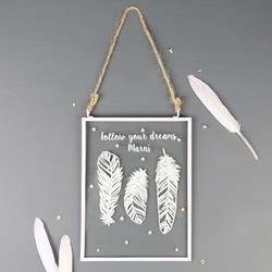 Personalised Hanging Feather Glass Frame Decoration