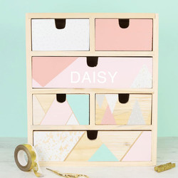 Personalised Wooden Geometric Patterned Storage Drawers