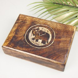 Carved Wooden Elephant Box