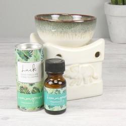 Ceramic Elephant Oil Burner with Lemongrass Fragrance Oil