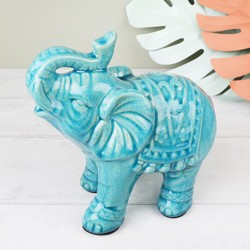 Crackled Ceramic Elephant Ornament