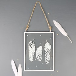 Hanging Feather Glass Frame Decoration