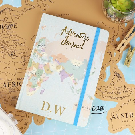 Personalised world map adventure notebook lisa angel personalised world map print adventure journal notebook sciox Images