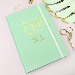 Personalised A5 Mint Green 'Inspiration & Ideas' Notebook