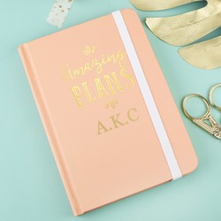 Personalised Small Peach 'Amazing Plans' Notebook
