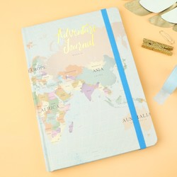 World Map Print  'Adventure Journal' Notebook