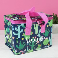 Personalised Sass & Belle Botanical Cactus Lunch Bag
