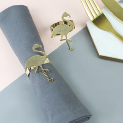 Personalised Set of 2 Shiny Gold Flamingo Napkin Holders