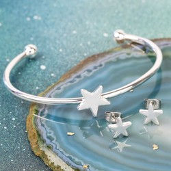 Silver Star Bangle and Earrings Jewellery Set