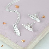 Sterling Silver Delicate Feather Necklace and Earring Set