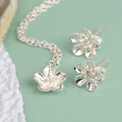 Sterling Silver Delicate Flower Necklace and Earring Set