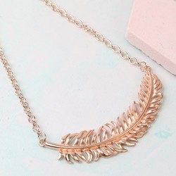 Large Rose Gold Feather Necklace