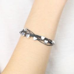 Multi-Strand Heart Bracelet in Black and Silver