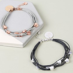 Multi-Strand Leather and Heart Bracelet with Disc Charm