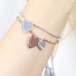 Personalised Double Heart Dainty Links Friendship Bracelet