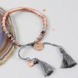 Personalised Rose Gold Boho Dark Grey Tassel Bracelet