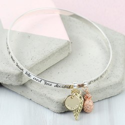Personalised Silver 'Say Yes to Adventure' Meaningful Words Charm Bangle